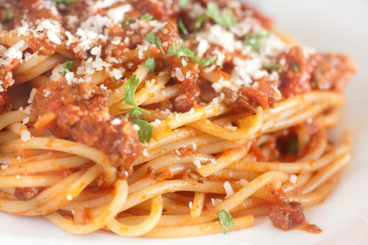 spaghetti bolognese closeup